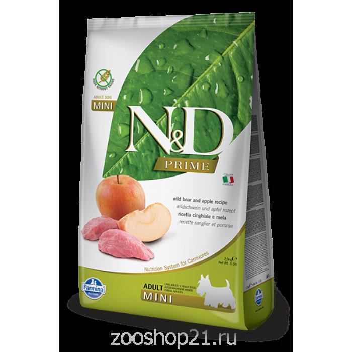 Корм Farmina N&D Boar & Apple Adult Mini беззерновой для взрослых собак мелких пород кабан с яблоком, 2.5 кг